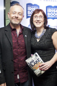 With RTE's Rick O'Shea at the Bord Gais Irish Book Awards shortlist announcement.
